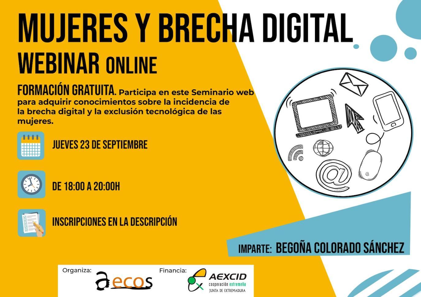 La Asociación Extremeña de Comunicación Social oferta una Webinar gratuita sobre 'Mujeres y Brecha Digital'