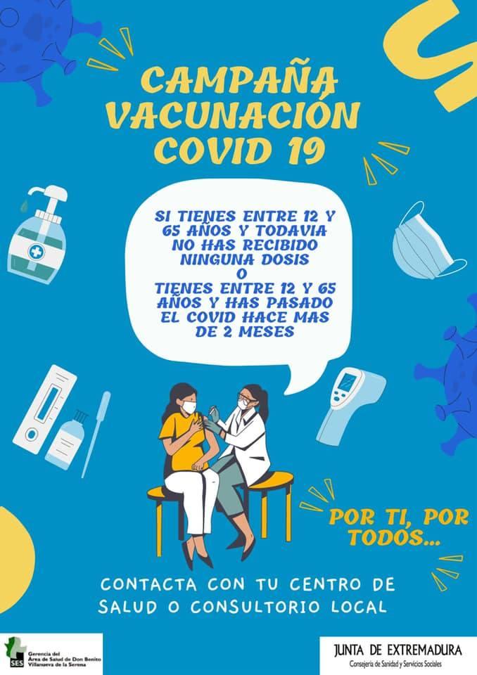 Campaña de vacunación sin cita previa para usuarios de la Zona de Salud de Castuera