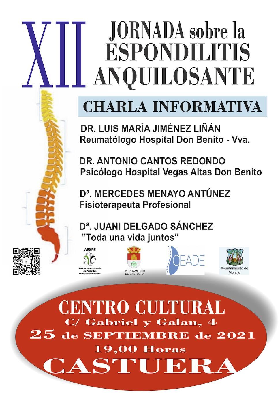 Jornada sobre 'Espondiloartritis' el sábado 25 de septiembre en el Centro Cultural