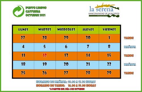 Publicados los horarios del punto limpio durante el mes de octubre