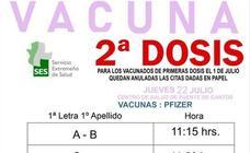 Vacunación de la segunda dosis para los que acudieron el 1 de julio