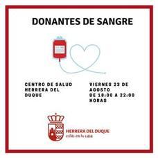 El equipo del Banco de Sangre de Extremadura se desplaza a Herrera del Duque el viernes 23 de agosto.