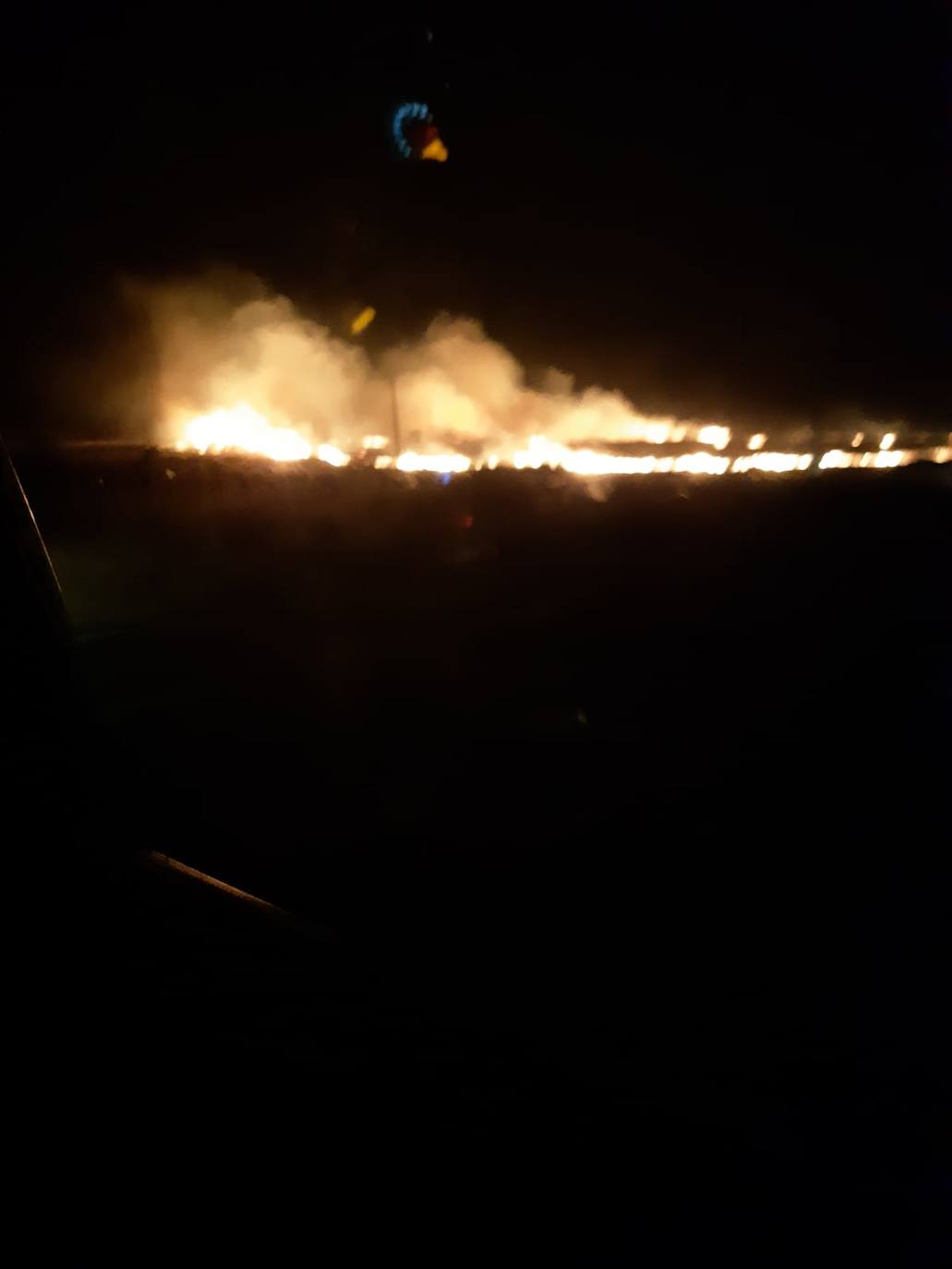 Incendio de madrugada en el paraje de la dehesa boyal de Herrera del Duque