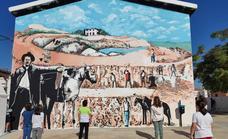 Un mural en el grupo escolar de San Martín homenajea a los tierrablanqueros
