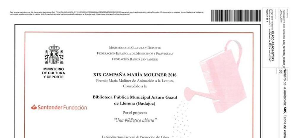 La Biblioteca Municipal recibe el premio María Moliner