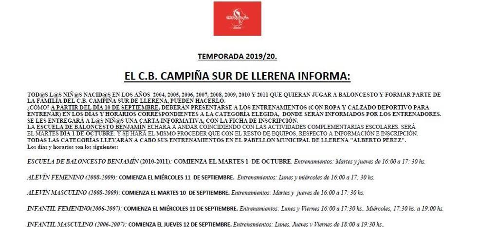 El C.B Campiña Sur abre el plazo de inscripción para los equipos base