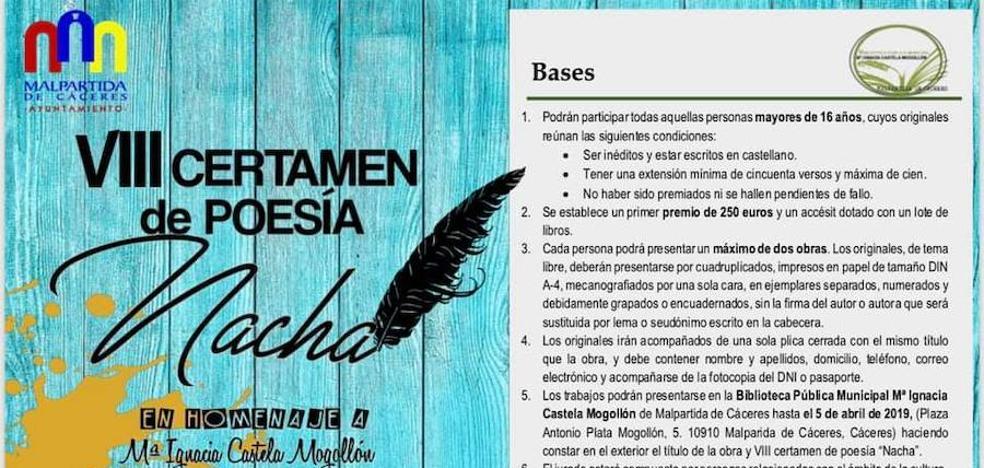 Convocado el VIII Certamen de Poesía 'Nacha'
