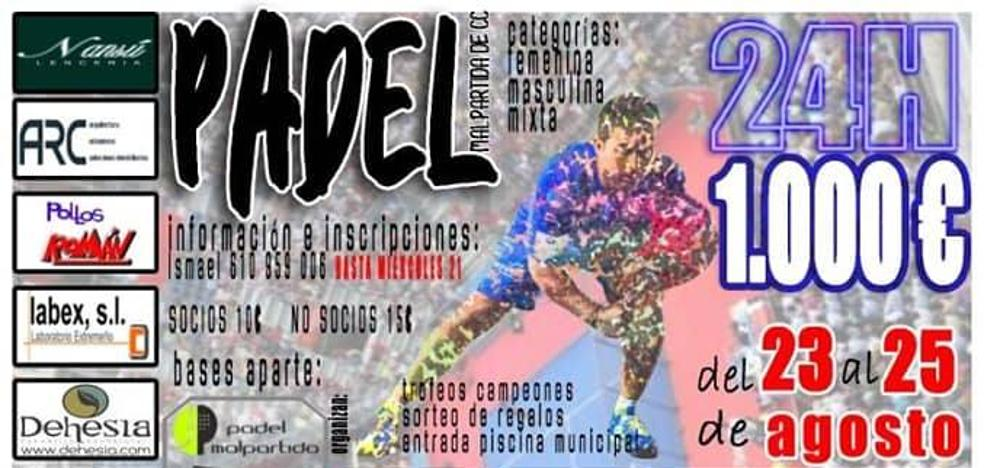 Pádel Malpartida organiza su II Torneo 24H de los 1000€