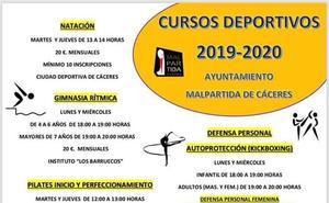 En octubre darán comienzo en Malpartida de Cáceres diferentes cursos deportivos