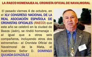 La Asociación Española de Cronistas Oficiales homenajea a Domingo Quijada