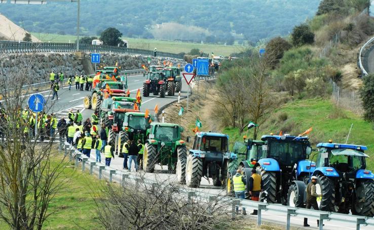 Protesta tabaquera en la autovía de Extremadura