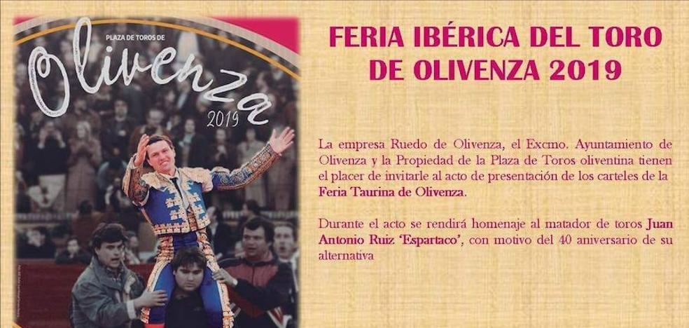 La Feria de Olivenza rendirá homenaje a 'Espartaco' en la presentación del cartel 2019