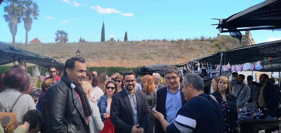 Patxi López visita Olivenza en una campaña que iba a cerrar Alfredo Pérez Rubalcaba
