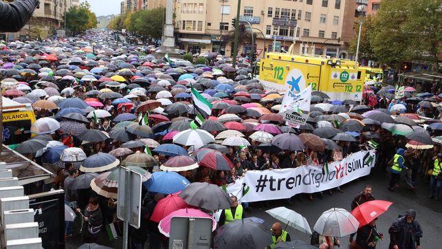 Medio centenar de quintanenses viajaron hasta Cáceres para reinvindicar un 'tren digno'