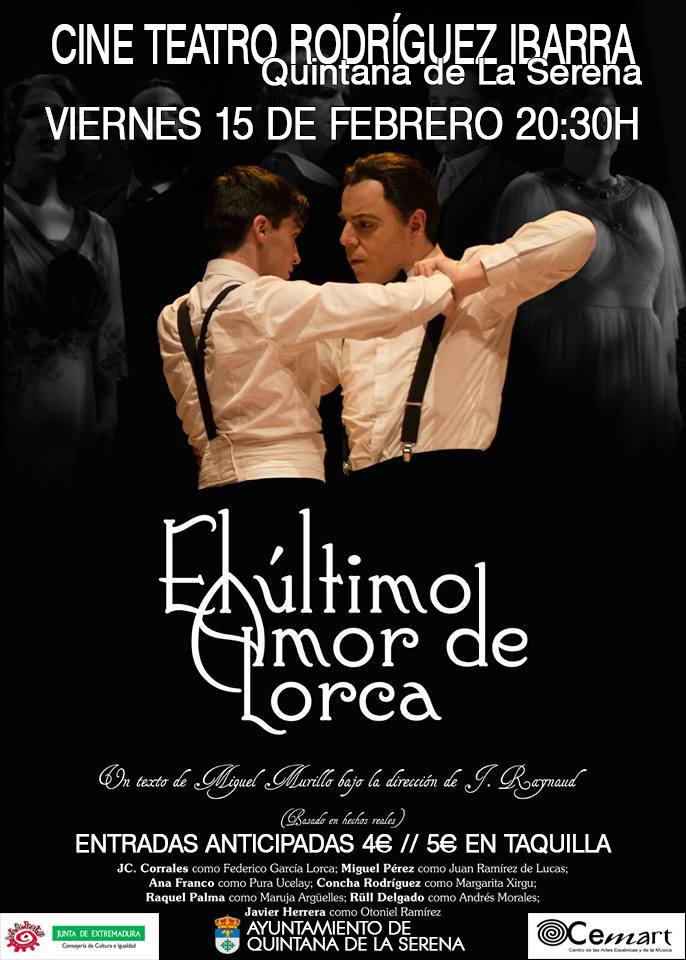 La obra de teatro 'El último amor de Lorca', esta noche en el Rodríguez Ibarra