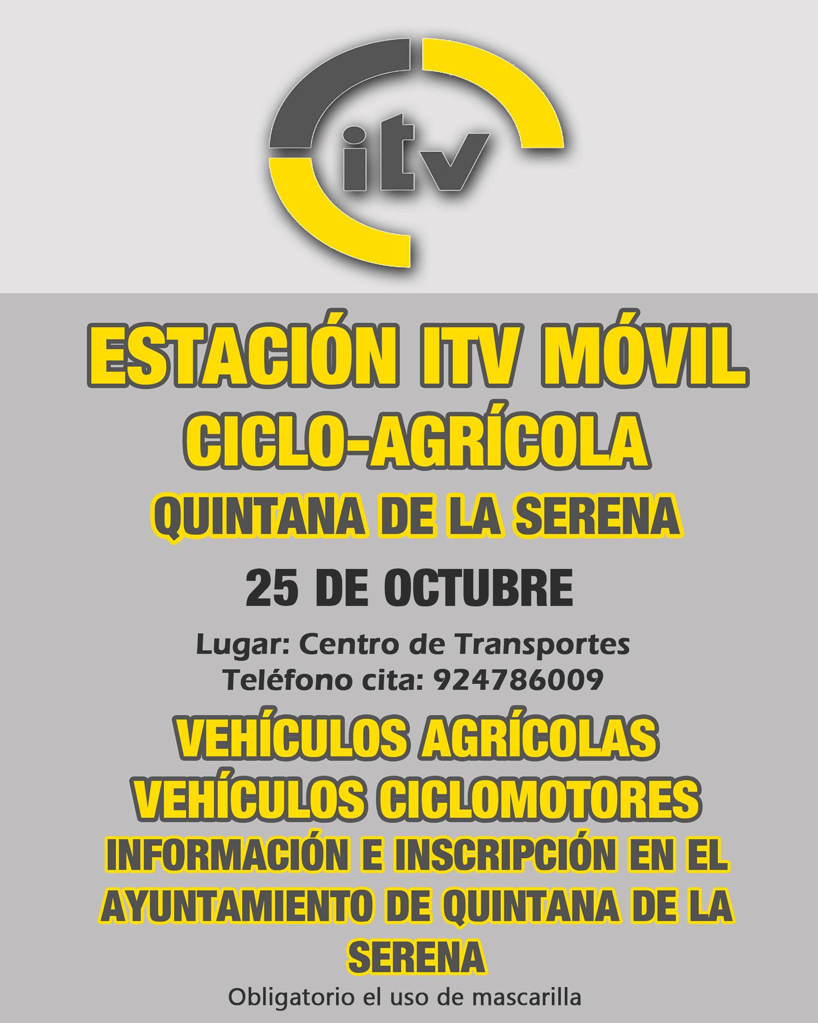 Una estación ITV móvil ciclo-agrícola estará en Quintana el 25 de octubre