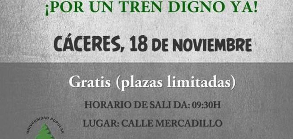 El Ayuntamiento pondrá un autobús gratis para la manifestación por un tren digno de Cáceres