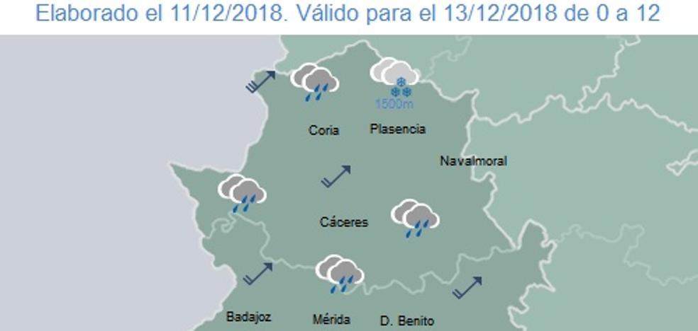 Posibles precipitaciones para el miércoles por la tarde en Extremadura