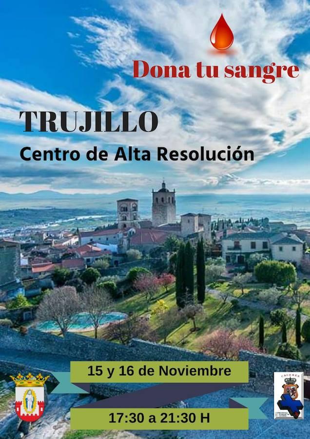 Los vecinos podrán donar sangre en Trujillo los días 15 y 16 de noviembre