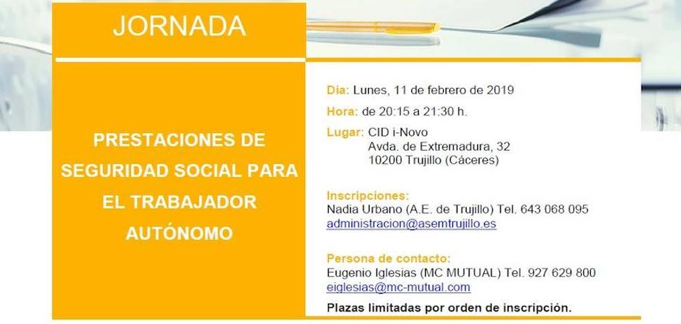 Jornada sobre 'prestaciones de seguridad social para el trabajador autónomo' para el 11 de febrero