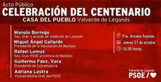 Esta tarde se celebra el Centenario de la Agrupación Local del PSOE