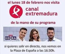 El programa 'A esta hora' de Canal Extremadura emitirá en directo desde la localidad