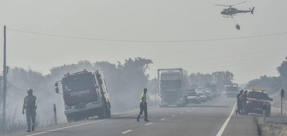 Un incendio obliga a desalojar una docena de chalés en la N-432