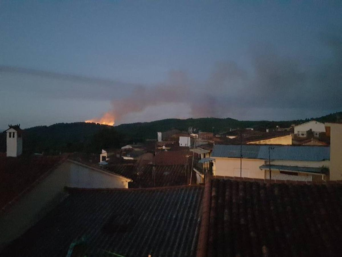 Imágenes del incendio forestal en el término de Santibañez El Alto