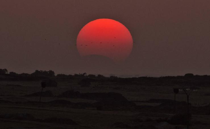 El eclipse solar, visto desde Cáceres