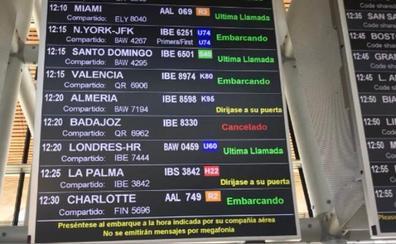 Cancelados los vuelos Madrid-Badajoz y Badajoz-Madrid de este jueves