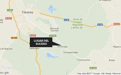 Dos heridos en un accidente al chocar contra un caballo en Torreorgaz