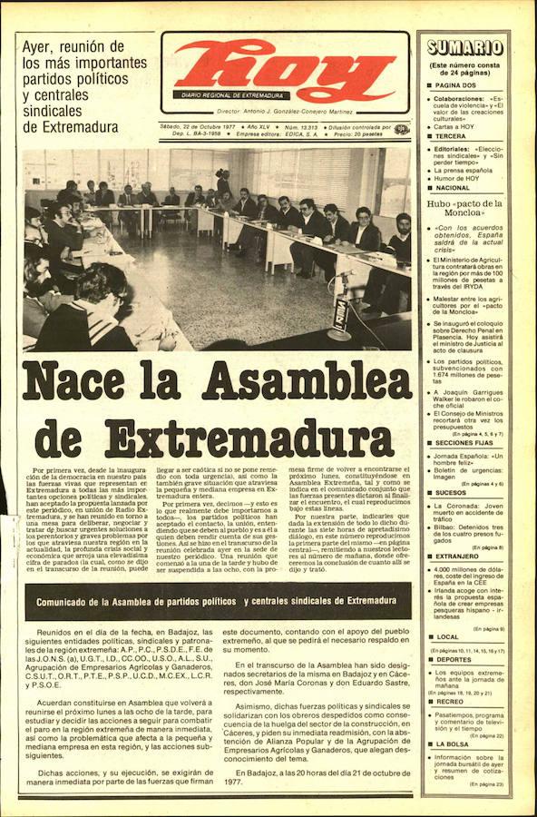 Portadas históricas de HOY pueden verse en una muestra en Badajoz