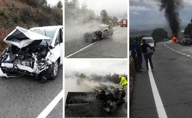 Un herido grave y otro leve en un accidente de tráfico cerca de Robledillo de la Vera