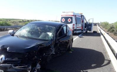 Uno de los vehículos del accidente en la autovía A-66 a la altura de Aljucén iba en dirección contraria
