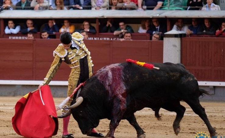 La faena de Alejandro Talavante al segundo de la tarde, 'Cacareo', en imágenes