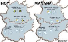 Martes de lluvia en Extremadura acompañada de tormenta en el norte