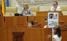 Niños extremeños piden en la Asamblea ciudades seguras para ciclistas y peatones