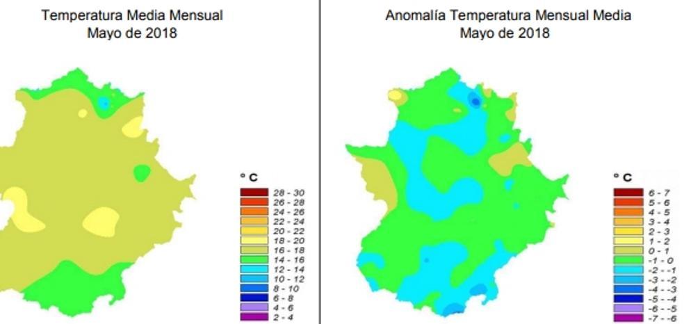 Mayo fue casi un grado más frío de lo normal y menos lluvioso que la media histórica