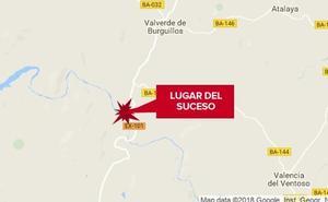 Dos heridos al salirse de la vía el coche en el que viajaban y caer al río en Valverde de Burguillos