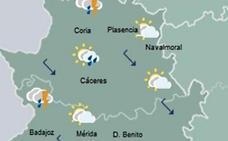 Las temperaturas se mantienen este miércoles y se esperan tormentas en Extremadura
