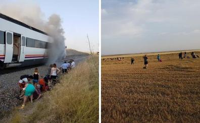 Otro tren se incendia y los pasajeros tienen que bajarse en mitad del campo