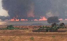 Imágenes del incendio forestal en Granja de Torrehermosa, paraje de La Cardenchosa