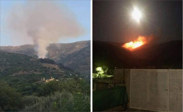 Seis medios aéreos intentan apagar el incendio forestal de Cabezuela del Valle