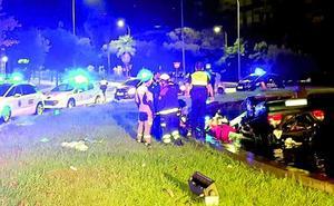 Un conductor sufre heridas graves tras volcar en la fuente de Isabel de Portugal