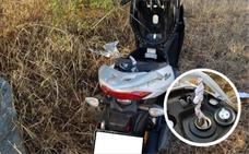 Recuperan en Badajoz una motocicleta preparada para ser quemada