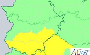 Aviso amarillo por tormentas para el miércoles en Extremadura