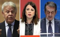 Felipe González, Adriana Lastra y Abel Caballero, este viernes en Villafranca de los Barros