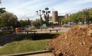 Las palmeras de la plaza del Alcázar de Zafra cambian de ubicación