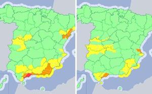 Mañana los avisos por lluvias afectarán a las dos provincias extremeñas