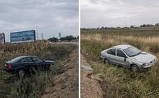 Dos salidas de vía en Badajoz en la antigua carretera Madrid-Lisboa